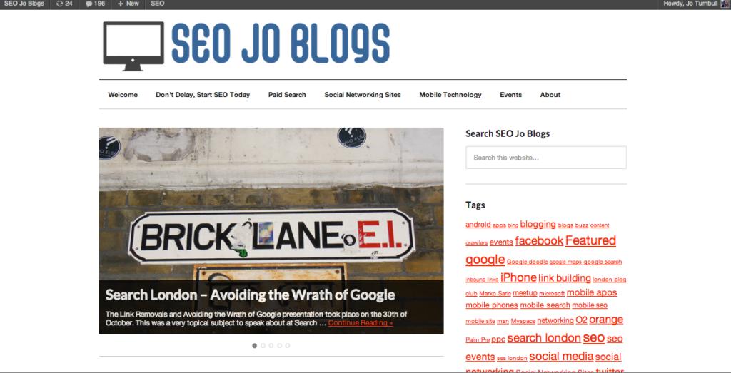 SEO Jo Blogs Second Website Theme